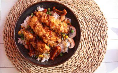 Krokante kip met rijst